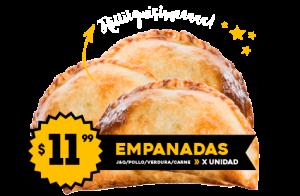 Empanadas $11.99 Jamón y Queso - Carne - Verdura - Pollo / x unidad