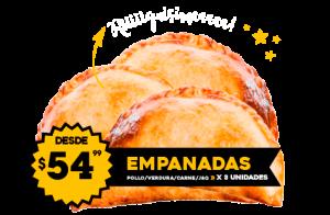 Empanadas $54.99 Carne - Verdura - Pollo - Jamón y Queso / x 3 unidades